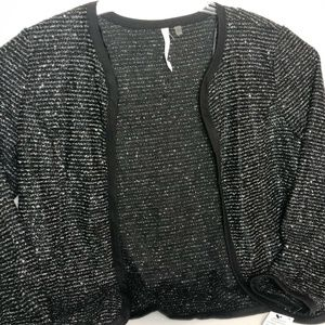 NY Collections Womens L Black Sparkle Dress Jacket